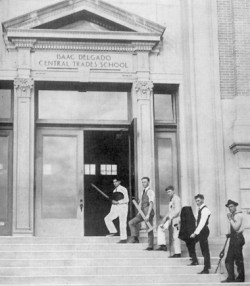 Historical black and white photo of Isaac Delgado Central Trades School from the early 20th century.