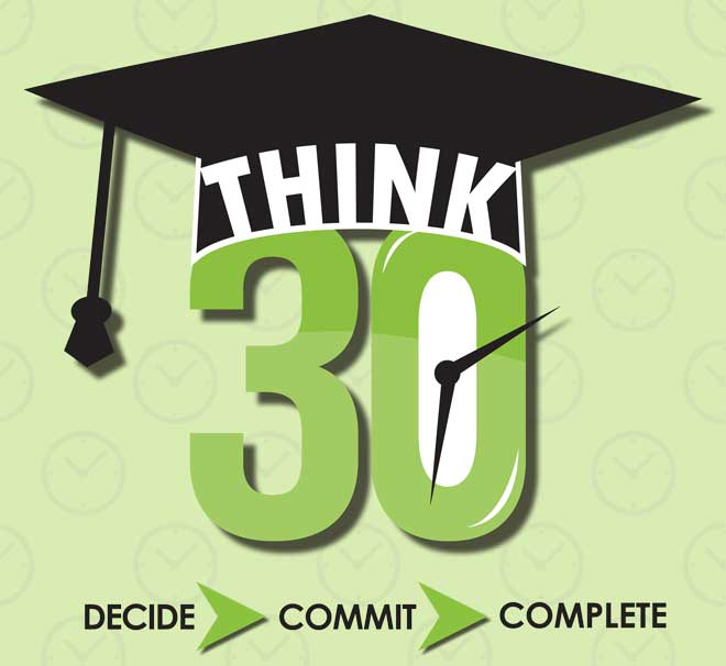 "The Think 30 logo with the slogan ""Decide"", ""Commit"", and ""Complete""."